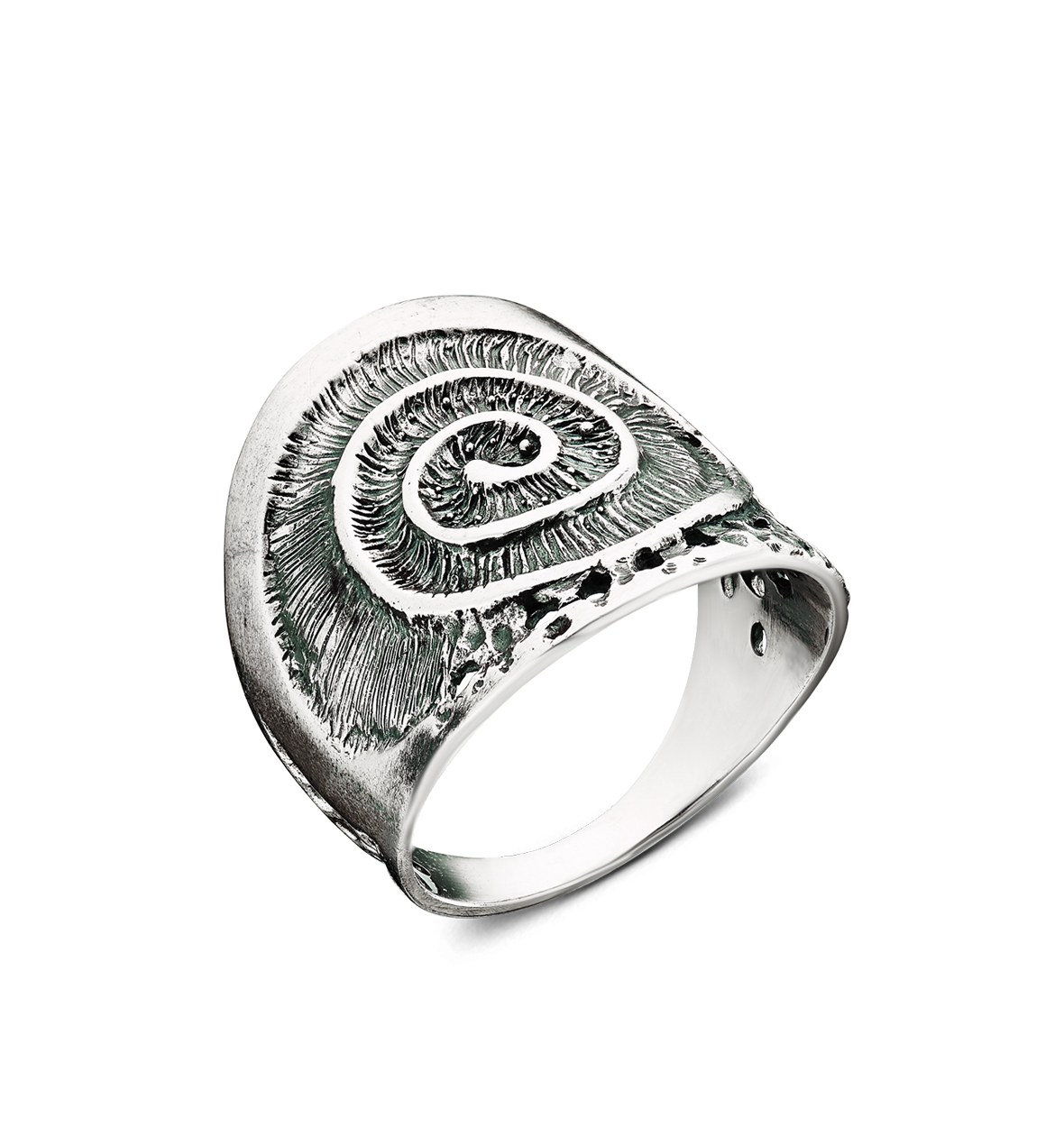 Product photo Spiral Сlam Shell Pattern Silver Ring