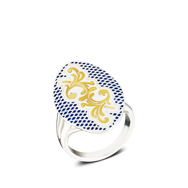 Gilded Rocaille Blue Enamel Silver Ring