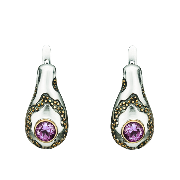 Round Cut Amethyst Gilded Silver Earrings