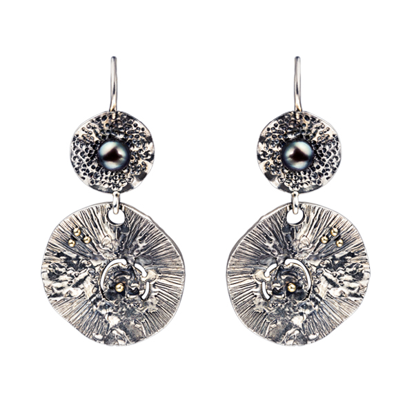 Water Lily Black Freshwater Pearl Dangling Silver Earrings