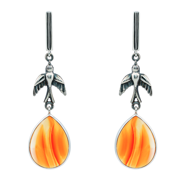 Drop Cornelian Dangling Silver Earrings