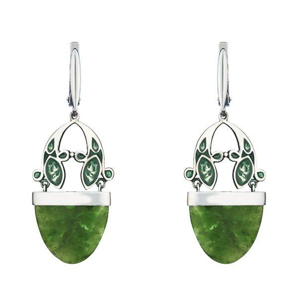 Nephrite Enamel Dangling Silver Earrings