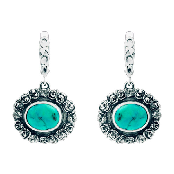 Oval Turquoise Floral Pattern Silver Earrings