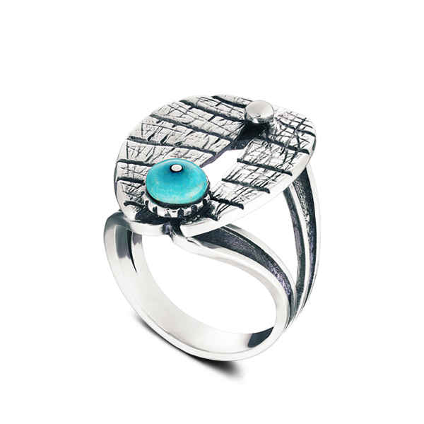 Turquoise Blackened Silver Ring