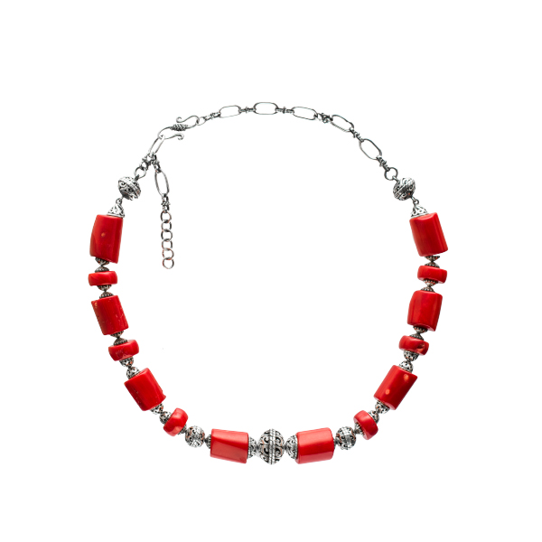 Silver bead necklace with coral