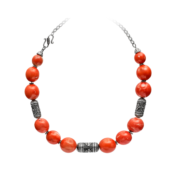 Silver coral bead necklace