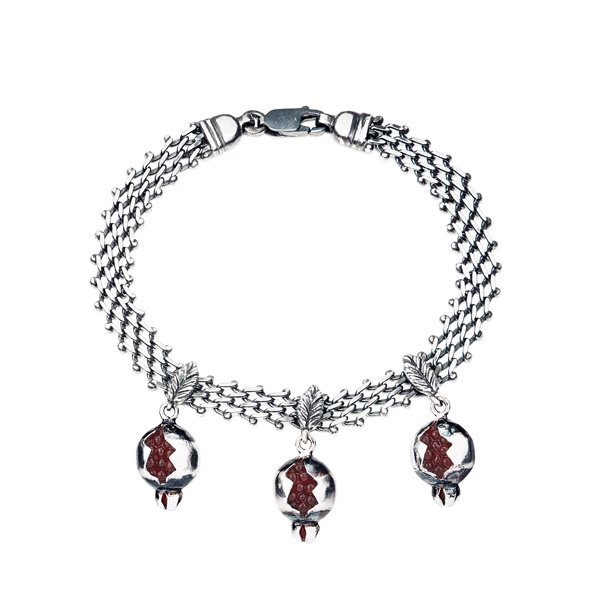 Cracked Pomegranate Silver Bracelet