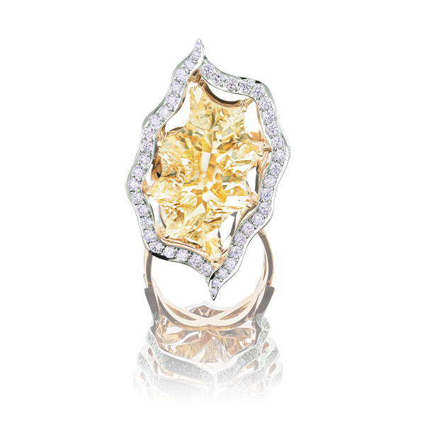 Fancy Cut Citrine and Diamond Ring