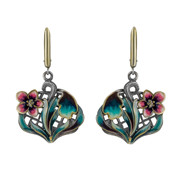Enamel Flower Dangling Silver Earrings