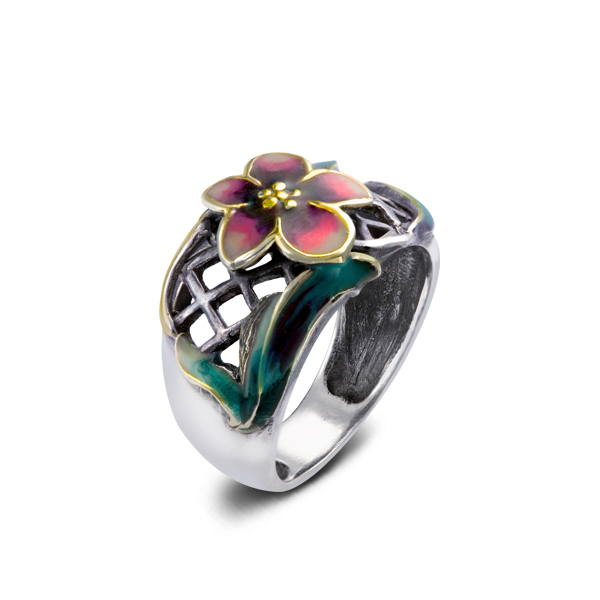 Enamel Flower Silver Ring