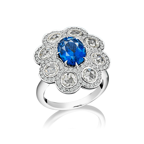 Oval Sapphire and Rose Cut Diamond Ring