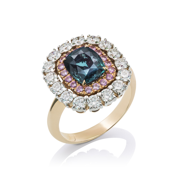 Alexandrite, Pink Sapphire and Diamond Ring