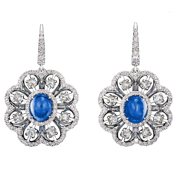 Ceylon Sapphire Cabochon Diamond Dangling Earrings