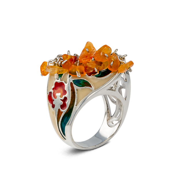 Amber and Enamel Silver Ring