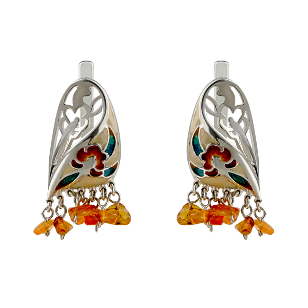 Amber and Enamel Silver Earrings