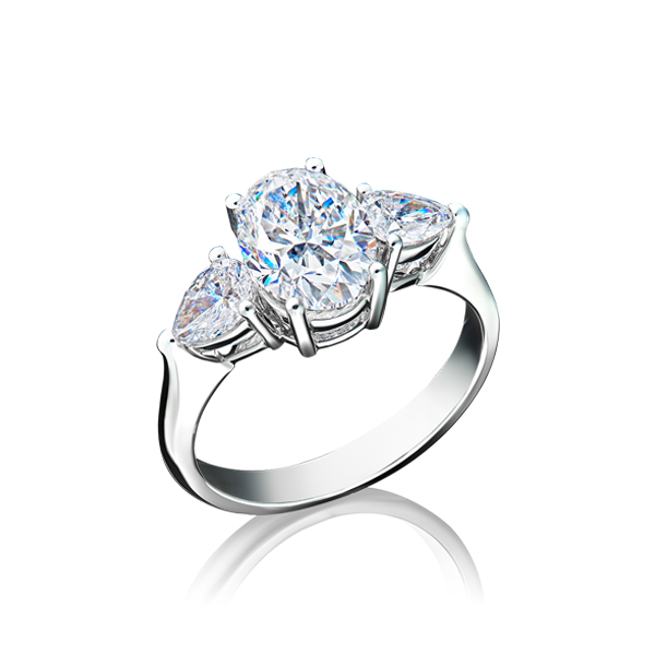Oval Sidestone Diamond Ring