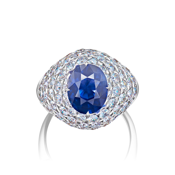 Deep Blue Oval Sapphire Diamond Ring