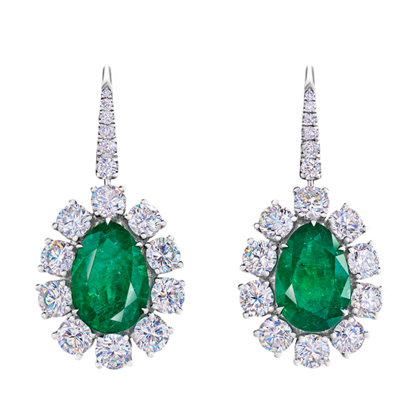Drop Shape Emerald Diamond Dangling Earrings