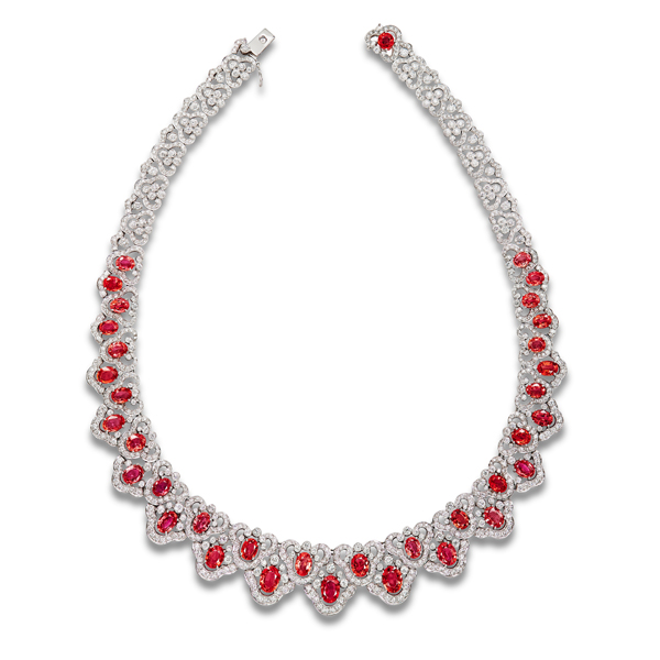 Padparadscha Sapphire and Diamond Necklace