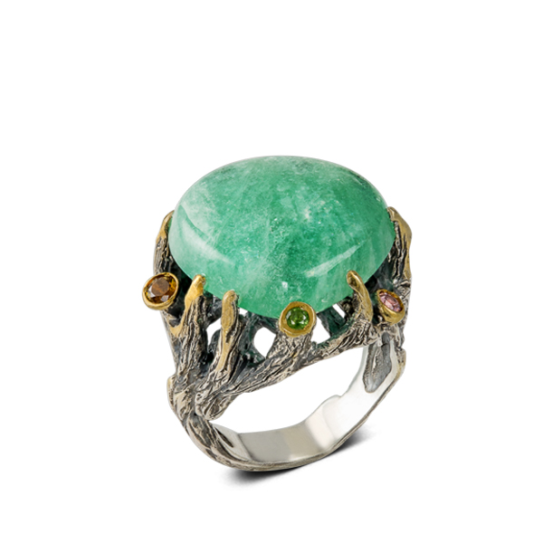 Drop Shape Beryl Caboshon and Tourmaline Silver Ring