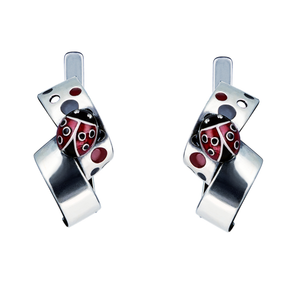 Enamel Lady Bug Silver Earrings
