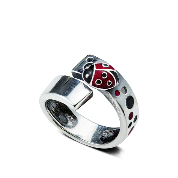 Enamel Lady Bug Silver Ring