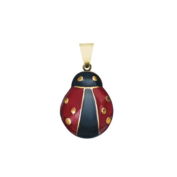 Enamel Lady Bug Gold Plated Silver Pendant