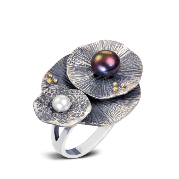 Water Lily Multicolor Pearl Major Silver Ring