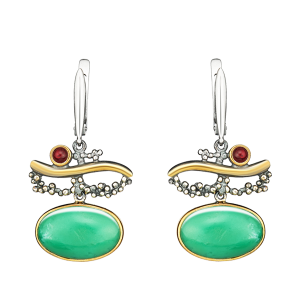 Oval Chrysoprase and Garnet Dangling Silver Earrings