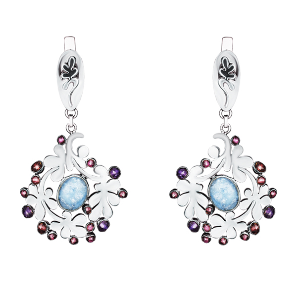 Aquamarine and Garnet Dangling Silver Earrings