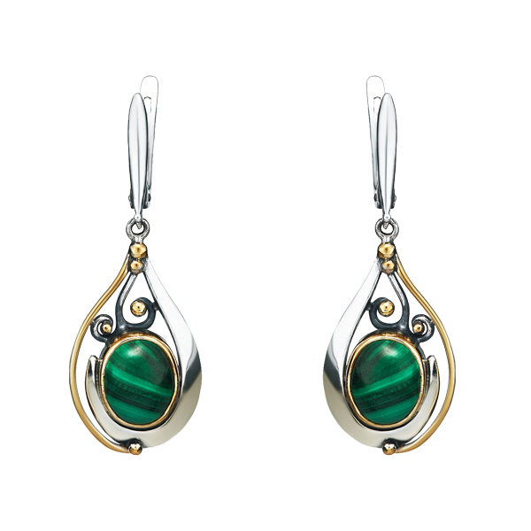 Malachite Dangling Silver Earrings With Gilding