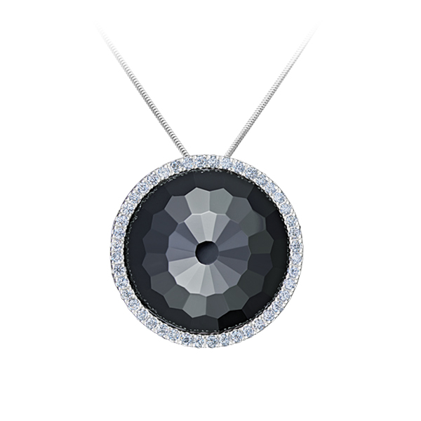 Faceted Black Onyx And Diamond Pendant