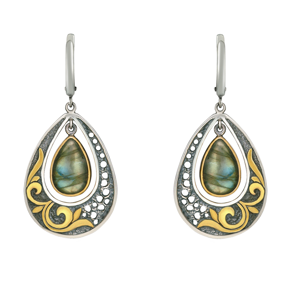 Drop Shape Labradorite Dangling Silver Earrings
