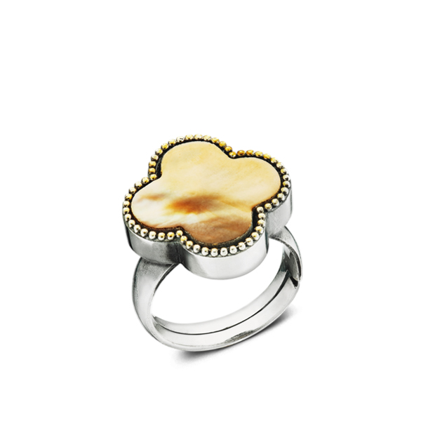 Four-leaf Shape Golden Tint Mother-of-Pearl Silver Ring