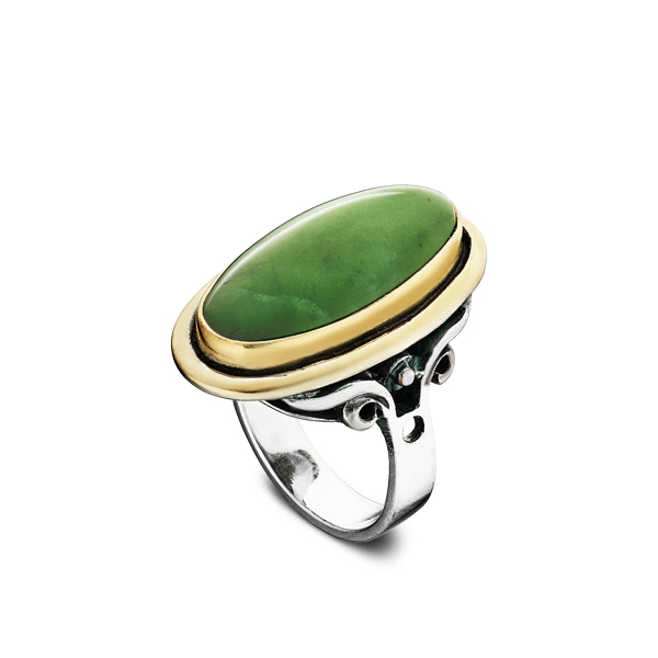 Oval Nephrite Silver Ring With Gilding