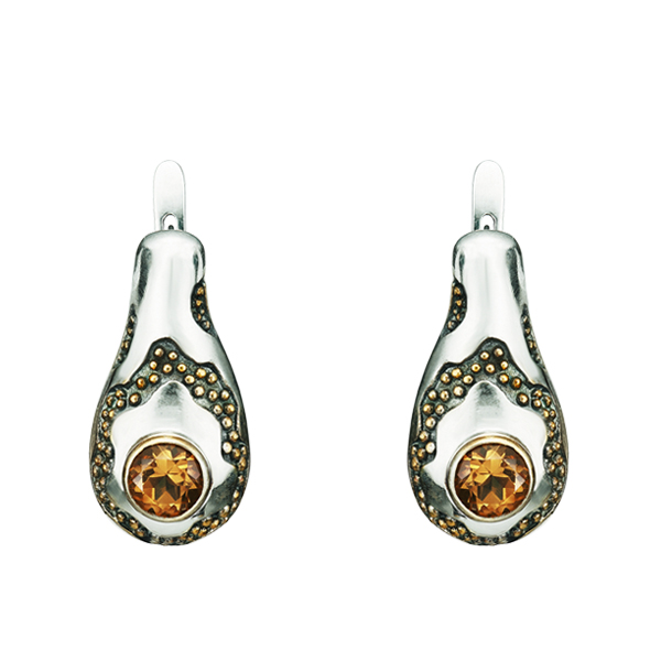 Round Cut Citrine Gilded Silver Earrings