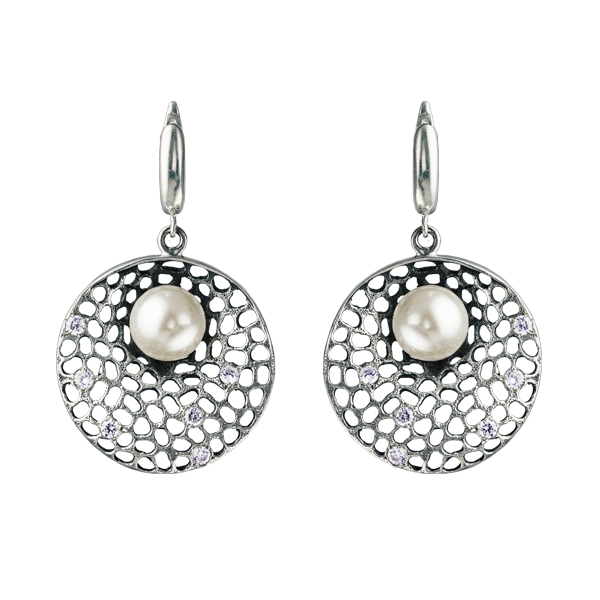 Majolica And Cubic Zirconia Silver Earrings