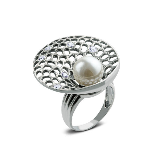 Majolica And Cubic Zirconia Silver Ring