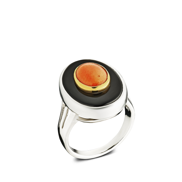 Oval Orange Coral And Black Onyx Silver Ring