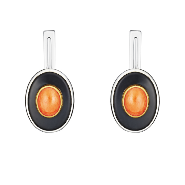Orange Coral And Black Onyx Silver Earrings