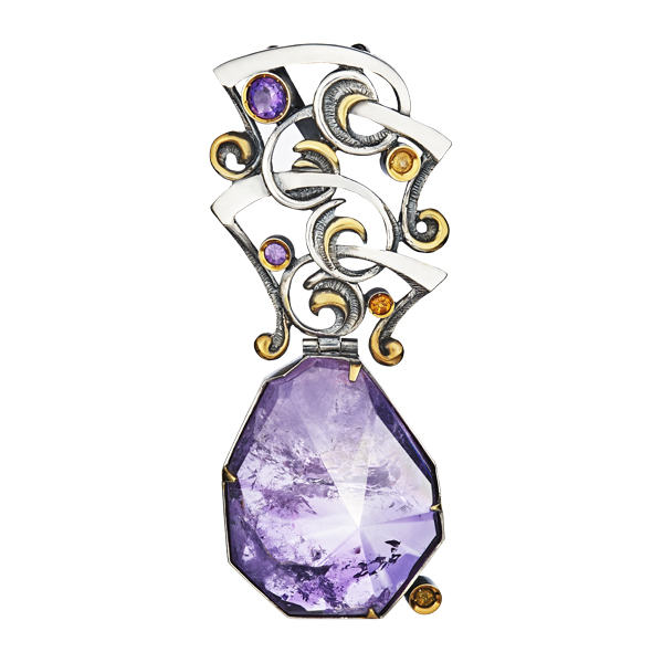 Amethyst And Citrin Major Silver Pendant