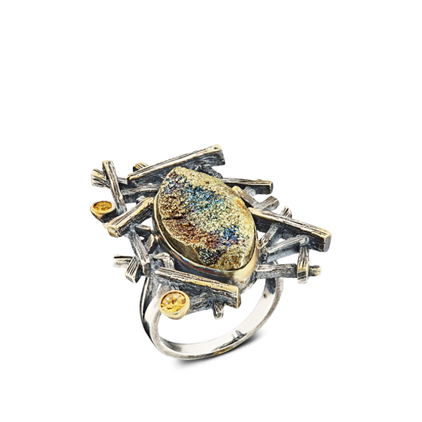 Pyrite And Tourmaline Silver Ring